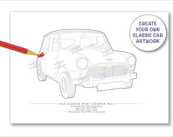 Set of three Mini car prints for colouring in