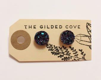 Cilva Studs — druzy oil spill slick acrylic synthetic elegant, faux fake gauge, small minimalist druze for her black Nashville earrings