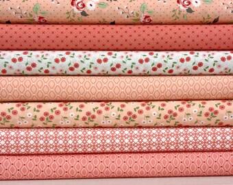 NEST Fat Quarter Bundle of 8 Pink Blush Peach  Lella Boutique Vanessa Goertzen For Moda Fabric