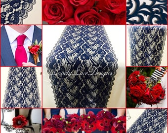New NAVY BLUE Lace/Table Runner/3ft-11ft long x12in