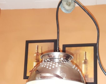 Pulley chandelier etsy colander lamp pulley light kitchen utensil use upcycled repurposed metal aloadofball Images