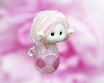 Little Pink Rose Fairy glass bead