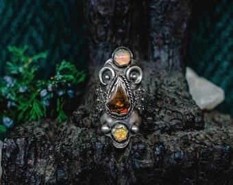 Geometric Ring, Boho Jewelry, Boho Ring, Sterling Silver Shield Ring, Ammolite Ring, Bohemian Ring, Opal Ring, Raw Stone Ring