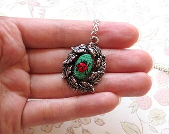 Mini Hand Embroidered Ladybug Necklace