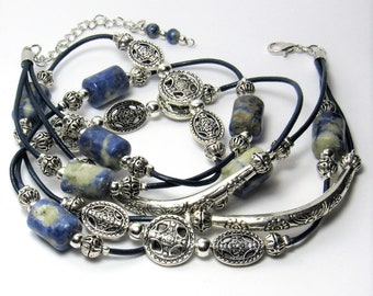 Blue and White Sodalite Gemstone & Silver Wrap Bracelet on Navy Blue Leather - 3 strand