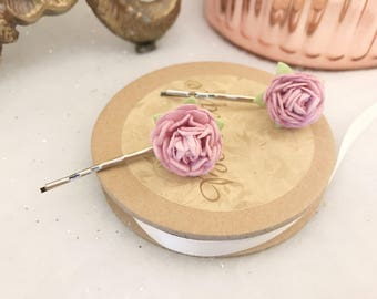 Set of Two Baby Pink Curly Rose Bridal Bridesmaids Wedding Hair Pin Vintage Floral Pins Clips Festival Boho
