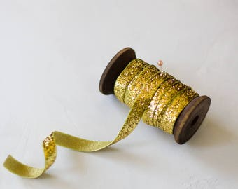 "Gold Glitter Velvet Ribbon (with Wooden Spool) - 5 yards - 3/8"" wide"