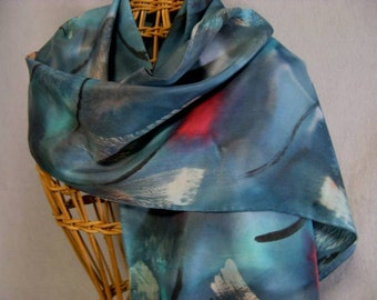 "Silk Scarf ""Teal Brushstroke"", Hand Painted Silk Scarf"