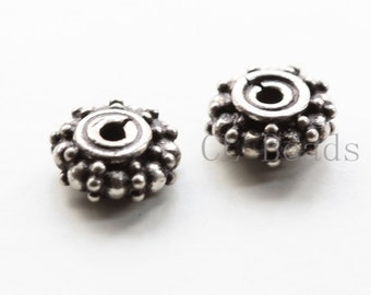 2 Pieces S925 Oxidized Sterling Silver Spacer - 9x4mm