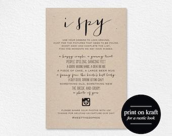 I Spy Wedding Game, Wedding Games, Wedding hashtag, hashtag sign, wedding printable, photo hunt, Wedding Reception, Instant Download #BPB121