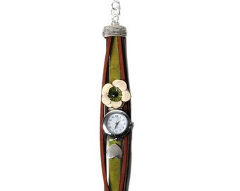 """Watch jewelry green and Brown, leather bracelet with a """"coconut"""" leather flower"""