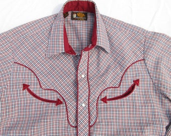 Vintage Mens Western Shirt, Kenny Rogers, 15.5, 35, Pearl Snaps, Contrasting Yoke