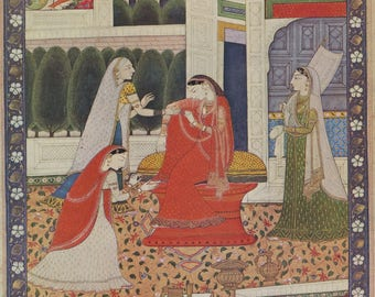Indian Miniature Painting 1959 printed reproduction - Unrequited Love