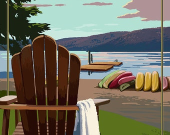 The Adirondacks - Long Lake, New York - Adirondack Chair (Art Prints available in multiple sizes)