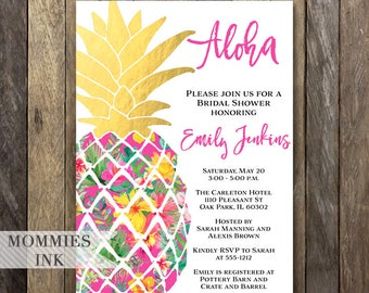 Pineapple Bridal Shower Invitation, Wedding Shower Invitation, Pineapple Invitation, Shower Invite, Aloha Invite, Gold Pineapple Invite