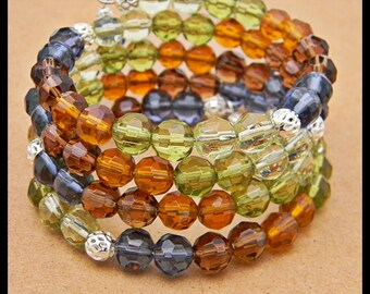 Multi Colored Glass Bead Memory Wire Bracelet