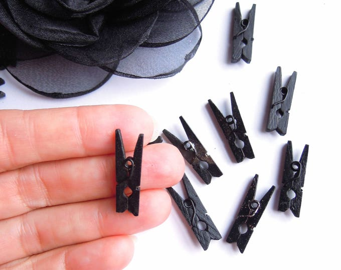 25 BLACK mini clothespins, Mini pegs black, Small clothespins 25mm, Mini clothespins, Little black pegs, Black pegs for garland pegs
