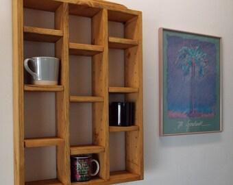 Pine Coffee Mug Shelf / Display