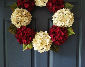 Hydrangea Door Wreath | Door Wreaths | Hydrangea Wreath | Wreath | Winter Wreath | Hydrangea Wreaths