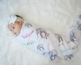 Floral Elephant-Personalized Floral Baby Swaddle- Custom Name-Baby Blanket-Pink-Gray-Flowers-Receiving Blanket-Name Blanket-Baby Shower Gift