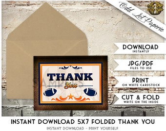 Football Thank You Card, Sports Themed Printable Thank You Cards, Football Instant Download, DIY Printable, Thank You Card Sports Printable