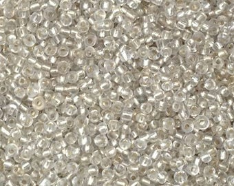 ♥ 10gr seed bead mother of Pearl background silver 2mm♥