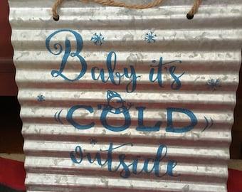 Ondulé étain Tenture murale «Bébé il fait froid dehors»