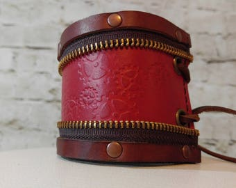 Leather bracer with adjustable closure, steampunk, zippered, laced -