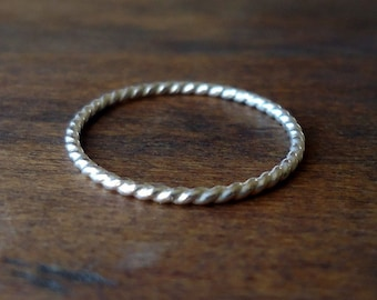 Twisted Silver Ring- Skinny Stacker