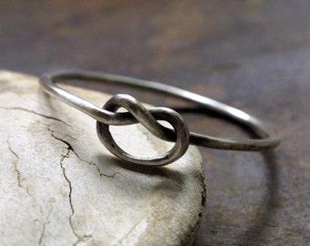 Rustic Fine Silver Love Knot Bangle Bracelet