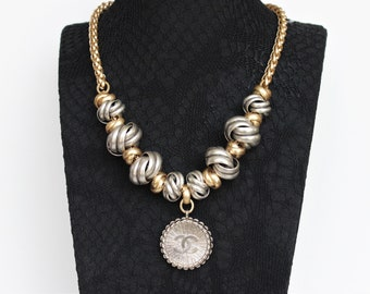 NEW**Authentic Designer Button Necklace Silver and Gold Chain Knot Necklace Chunky, Designer Upcycled Jewelry veryDonna