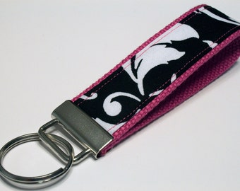 Fabric Key Fob, Key Chain, Key Ring, Key Holder, Wristlet Key Fob, Wristlet Keychain, Fabric Key fobs-Reverse pink