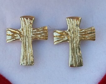 Cross Gold Stud Earrings ,14K Yellow Gold Cross Earrings ,Handmade Gold Stud Earrings, Cross Gold Jewelry, Gift For Her ,Mother's Day Gift