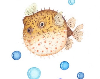 Blowfish art print . Under the sea ocean nursery art decor. Pufferfish painting. Watercolor fish painting. Children kids room wall art decor