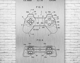 Original Playstation PS1 Controller Poster Art Print, Playstation Controller, Sony Playstation, Video Game Controller, Gamer Gift, Patent