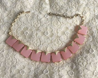 Vintage Luscious Pink Lucite MoonGlow Necklace With Gold Accents MidCentury