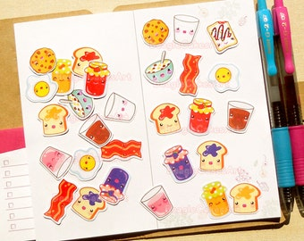 Breakfast Stickers. Kawaii Stickers. Erin Condren Sticker. Planner Stickers. Functional Stickers. Planner Supplies. Bullet Journal. Stickers