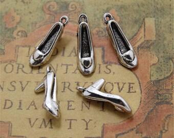 20pcs High Heel Shoe Charms pendants  Silver Tone 3D 22mm x 10mm x 7mm ASD0060