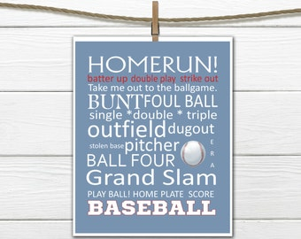 Baseball Word Art  - Baseball Decor - INSTANT Download PDF 8x10