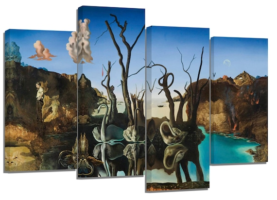 swans reflecting elephants by salvador dali