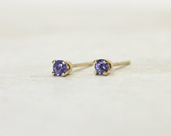 Tanzanite Earrings in Solid Gold, second hole earrings with lilac gemstones in 14K