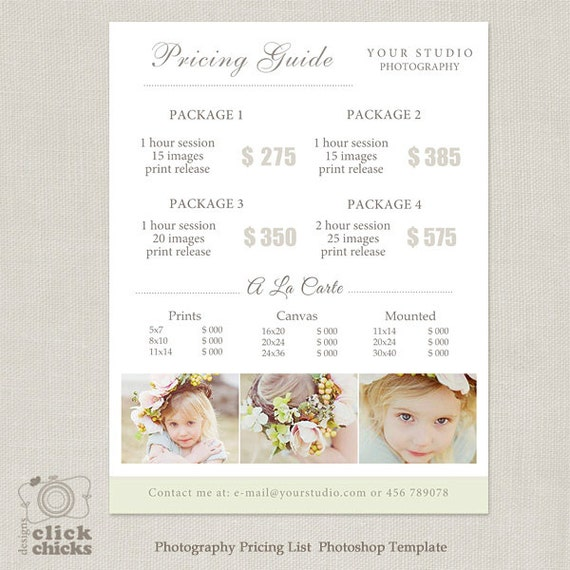 photography package pricing list template photography. Black Bedroom Furniture Sets. Home Design Ideas