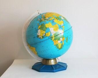 Vintage Tin Litho Globe, Student Map, J Chein, NJ, Metal 9 Inch World Capitals