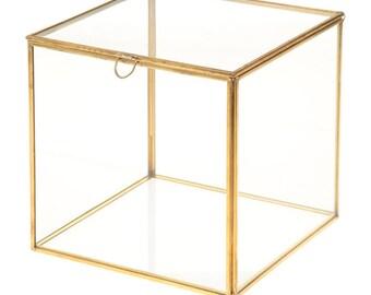 Square glass - 18cm square jewelry box