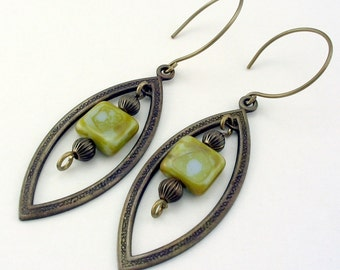 Olive Green earrings Earthy Organic, Gift for Her Jewelry