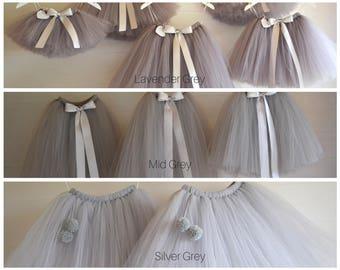 Long grey tutu, girls tutu, flower girl tutu, flower girl dress, baby tutu, tulle skirt, flower girl tutu, adult tutu, ballet tutu,