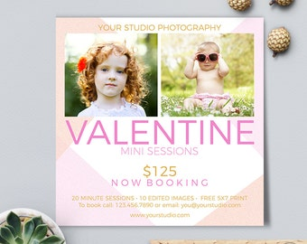 Valentine Mini Session, Photoshop Template, Photography Marketing Board, Photographers 5x5 Flat Card, Instant Download
