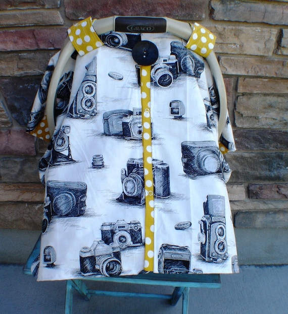 Carseat Canopy Vinatge Camera  / Car seat cover / car seat canopy / carseat cover / carseat canopy / nursing cover