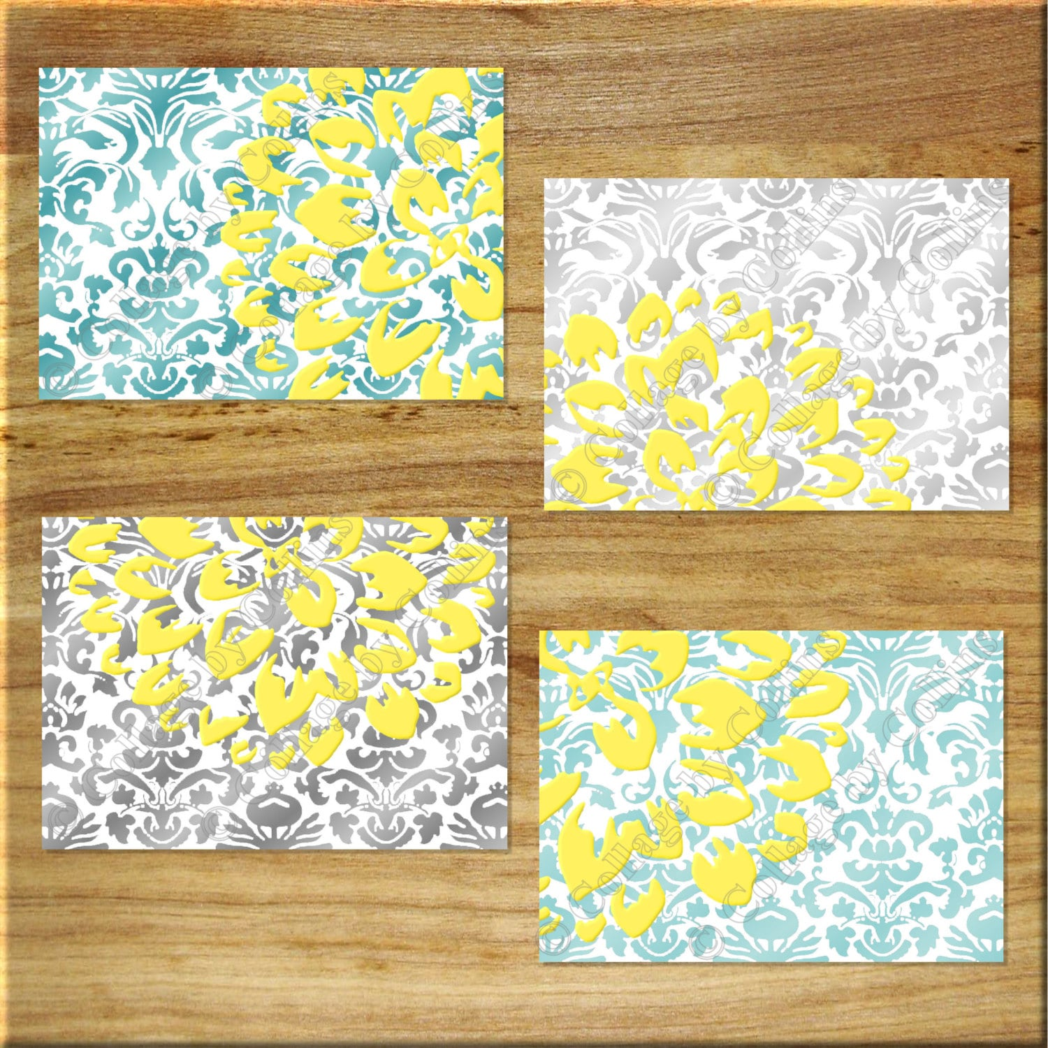 DAMASK design Teal Aqua Gray Yellow Wall Art Prints Decor
