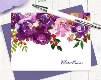 personalized stationery set - PURPLE PEONIES WATERCOLOR flowers - set of 8 folded cards - custom stationery gift set